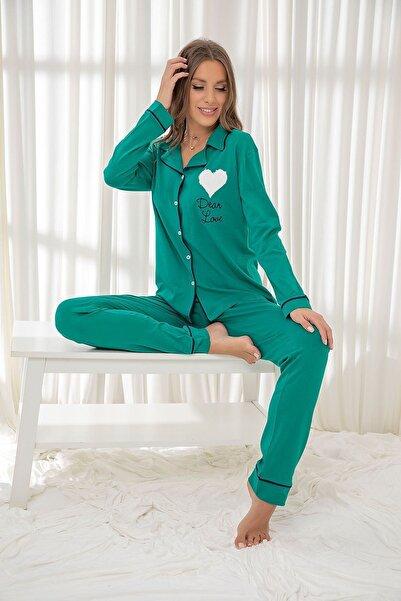 Siyah İnci Koyuyeşil Pamuklu Likrali Düğmeli Biyeli Pijama Takım