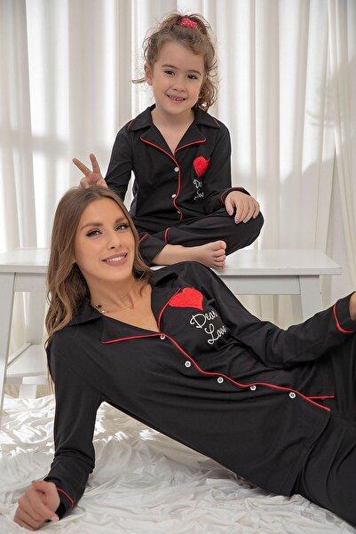 Siyah İnci Siyah Pamuklu Likrali Düğmeli Biyeli Pijama Takım