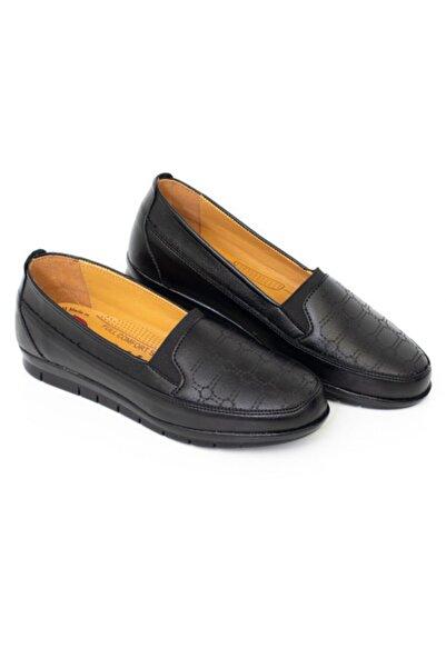 MelikaWalker Full Confort Ortapedik Yüksek Taban Esnek Rahat Içi Deri Siyah Anne Ayakkabısı