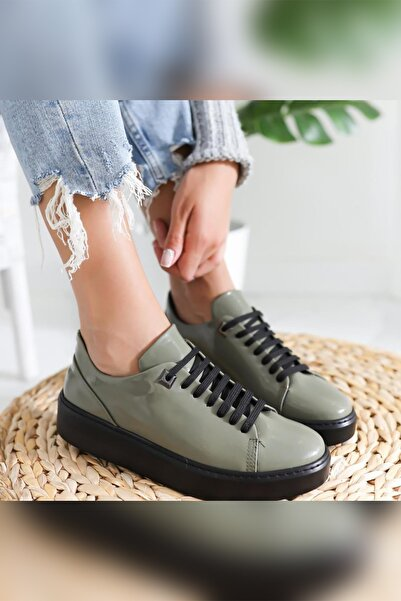 Limoya Jaylin Haki Mat Rugan Bağcıklı Casual Günlük Ayakkabı