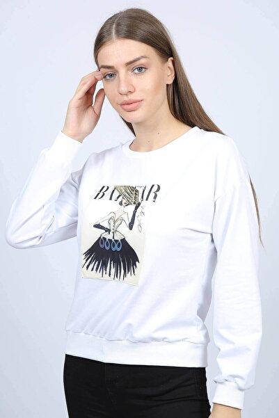 Mossta Kadın Beyaz 3 Boyutlu Baskılı Sweatshirt