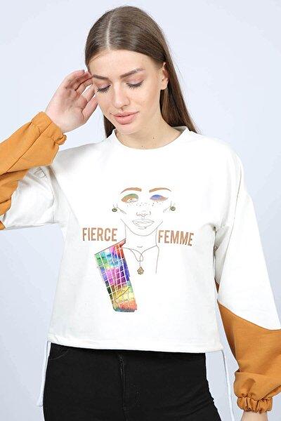 Mossta Kadın Ekru Büzgülü Baskılı Sweatshirt