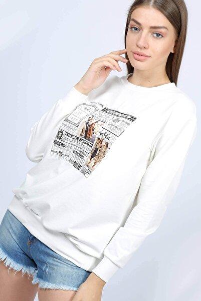 Mossta Kadın Beyaz Gazete Baskılı Sweatshirt