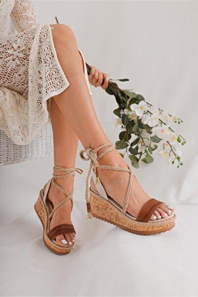 Limoya Vivienne Taba Kroko/ten Süet Dolgu Topuklu Mantar Tabanlı Bilekten Sargılı Sandalet