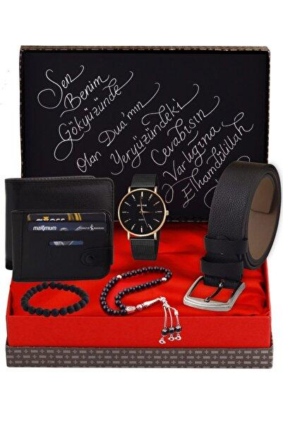 HediyeSepete Siyah Saat & Kemer & Cüzdan & Tesbih & Bileklik & Kartlık Hediye Seti 8