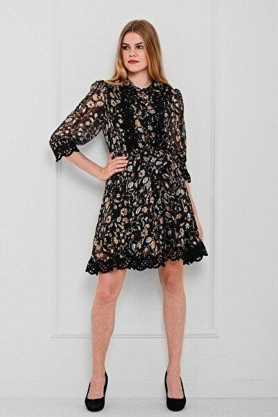 JEANNE DARC Kadın Siyah Dantel Detaylı Çiçek Desenli Elbise Je89081