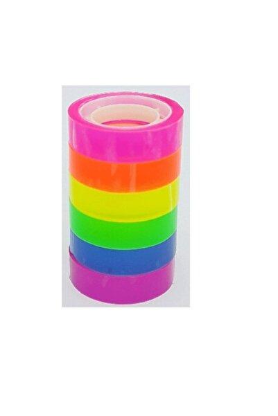 TGB Neon Renkli Şeffaf Bant Gökkuşağı 6 Lı 12mm*10y