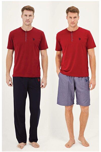 U.S. Polo Assn. Us Polo Bordo Pijama Takım + Sort 12010
