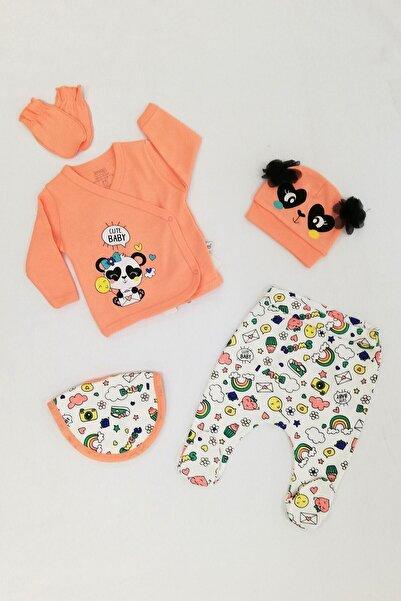 İmaj Kız Bebek Yavru Ağzı Gökkuşaklı Panda Desenli Önlüklü 5`li Set