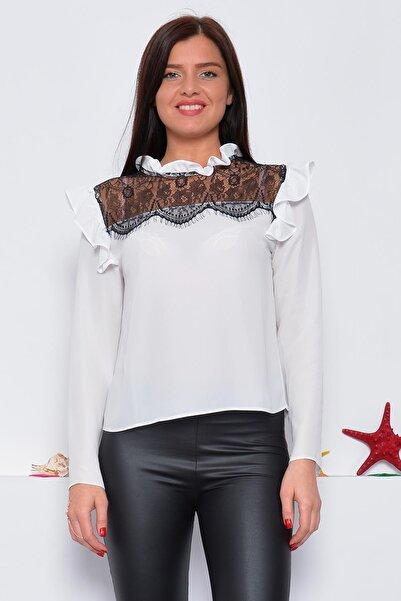 Mossta Kadın Beyaz Dantel Detaylı Fırfır Yaka Bluz