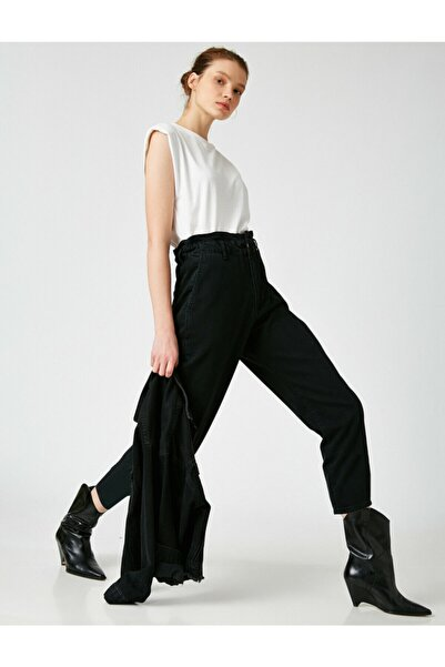 Koton Kadın Siyah Pamuklu Yüksek Bel Jeans
