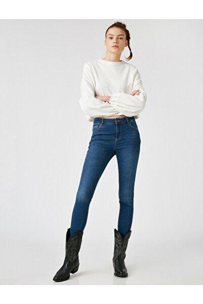 Koton Kadın Mavi Pamuklu Skinny Yüksek Bel Jean