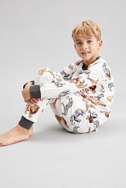 DeFacto Erkek Çocuk Beyaz Sevimli Hayvanlar Baskılı Pijama Takım