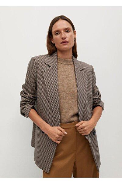 MANGO Woman Kadın Kahverengi Kalıplı Kareli Blazer Ceket