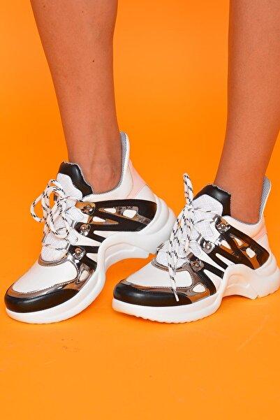 Mossta Kadın Siyah Beyaz Spor Ayakkabı