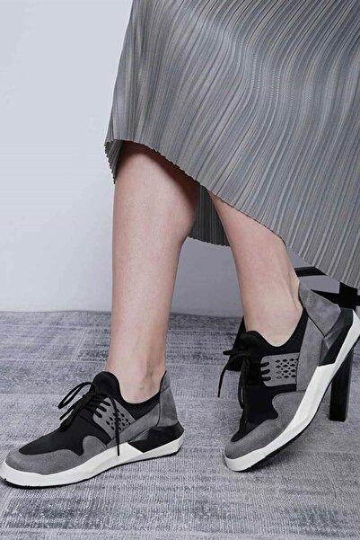 Mossta Kadın Siyah Süet Detaylı Spor Ayakkabı