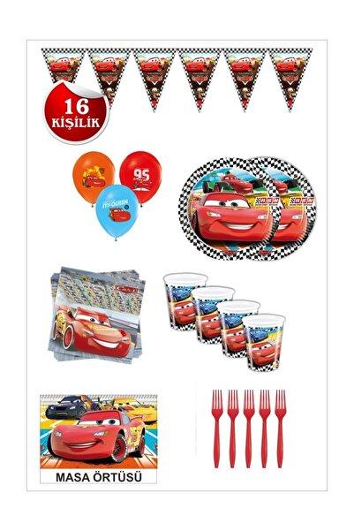 CARS Şimşek Mcqueen Arabalar Doğum Günü Seti 16 Kişilik