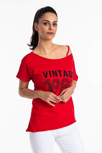 Mossta Kadın Kırmızı Düşük Omuz Vintage T-shirt
