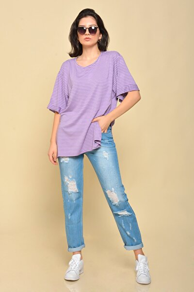 Mossta ;Kadın Lila Boyfriend Çizgili T-shirt