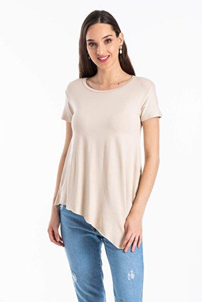 Mossta Kadın Bej Asimetrik Kesim Basic T-shirt