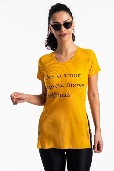 Mossta Kadın Sarı Yırtmaçlı Kaşkorse T-shirt