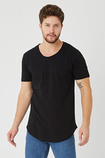 Tarz Cool Erkek Siyah Pis Yaka Salaş T-shirt