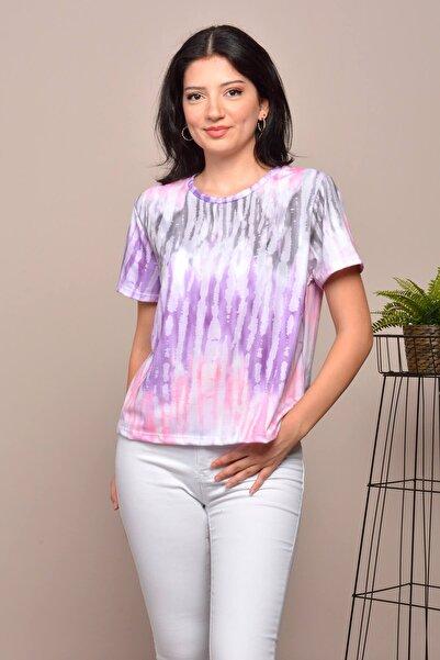 Mossta Kadın Mor Degrade Renki T-shirt