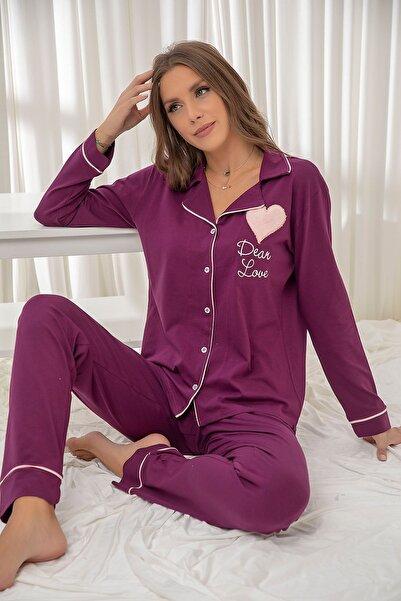 Siyah İnci Mor Pamuklu Likrali Biyeli Düğmeli Nakışlı Pijama Takım