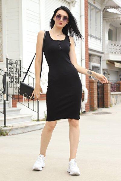 Mossta Kadın Siyah Düğmeli Kaşkorse Elbise