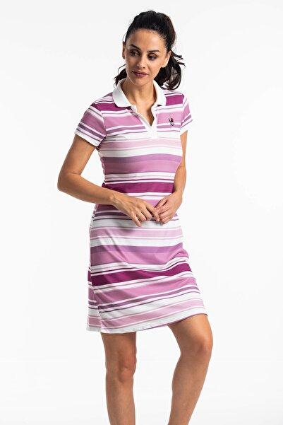 Mossta Kadın Mor Çizgili Yazlık Elbise