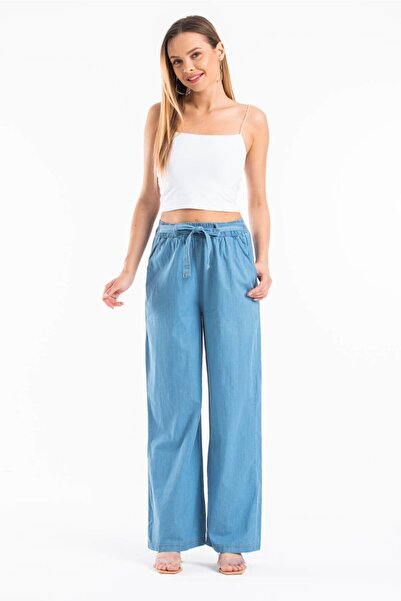 Mossta Kadın Mavi Bel Lastikli Bol Paça Pantolon