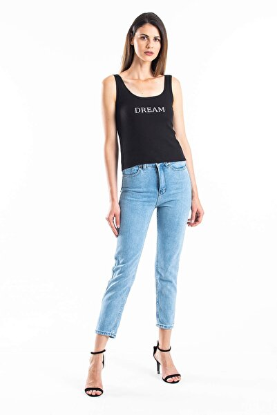 Mossta Kadın Mavi Yüksek Bel Mavi Mom Jean