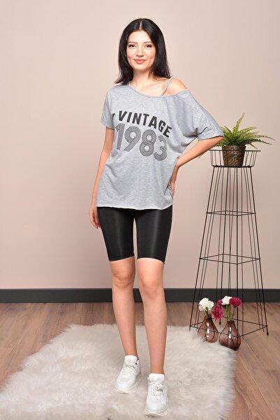 Mossta Kadın Gri Düşük Omuz Vintage T-shirt