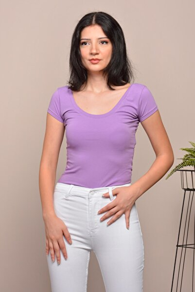 Mossta Kadın Mor Basic Body U Yaka Tshirt