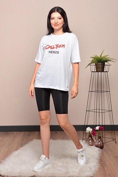 Mossta Kadın Beyaz Baskılı Salaş T-shirt