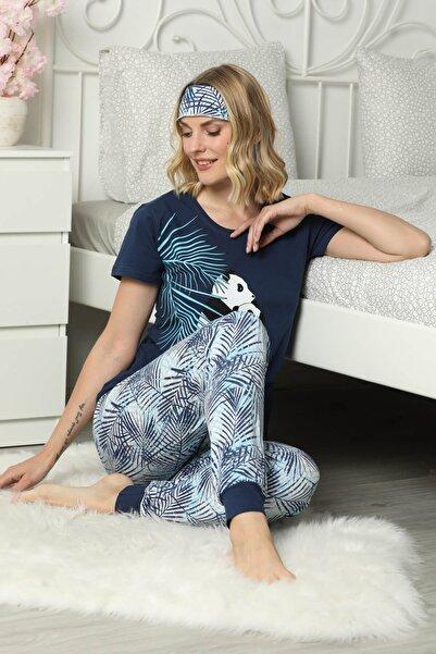 Mossta Kadın Lacivert Panda Baskılı Kısa Kol Pijama Takım