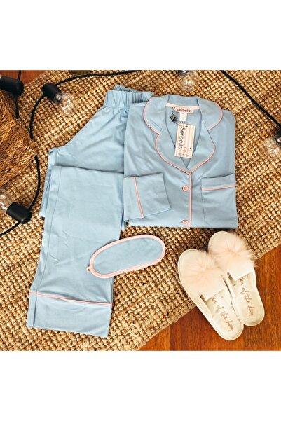 Serbella Bebek Mavisi Uzun Kollu Pijama Takımı