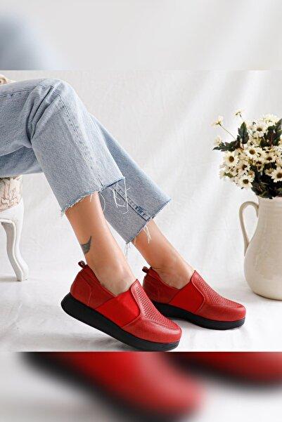 Limoya Kadın Kırmızı Hakiki Deri Lastikli Ortopedik Günlük Delikli Ayakkabı