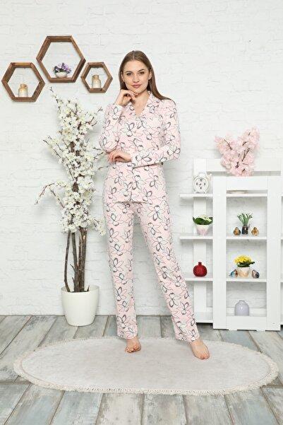 ALİMER Kadın Somon Çiçekli Gömlek Yakalı Önden Düğmeli Cepli Uzun Kol Likralı Pamuk Pijama Takımı 2550