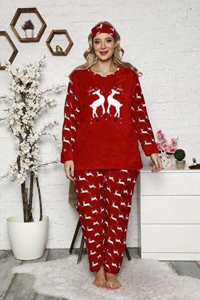 nisaNCa Kadın Kırmızı Büyük Beden Polar Peluş Pijama Takımı
