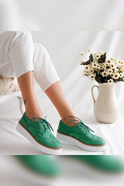 Limoya Kadın Lila Yeşil Lazerli Beyaz Kalın Tabanlı Bağcıklı Casual Ayakkabı