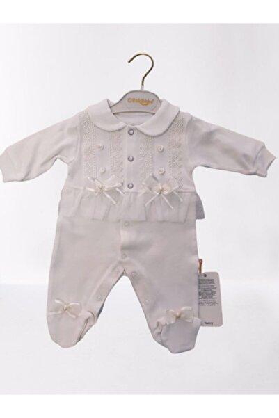 Batur Bebe Kız Bebek Krem Penye Tulum