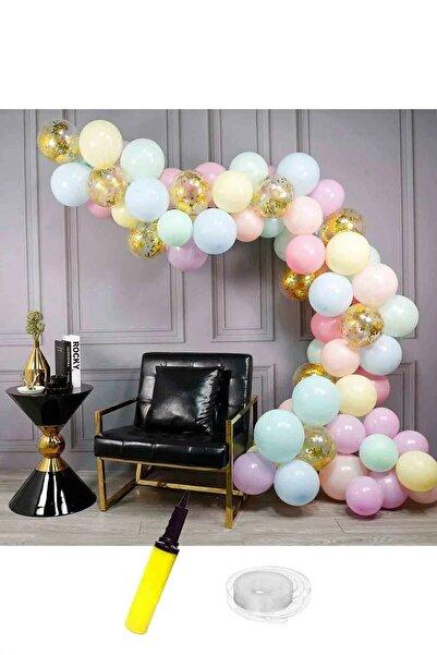 TATLI GÜNLER Makaron Ve Altın Konfetili Şeffaf Doğum Günü Balon Zincir Seti 63 Parça