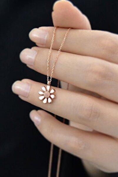 925 Ayar Gümüş Rose Kaplama Mineli Papatya Kolye