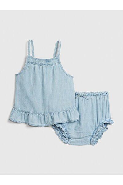 GAP Kız Bebek Mavi Fırfırlı Denim Üst Ve Alt Takım