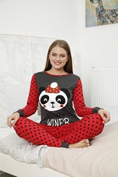 Kadın Kırmızı Baskılı Pijama Takımı