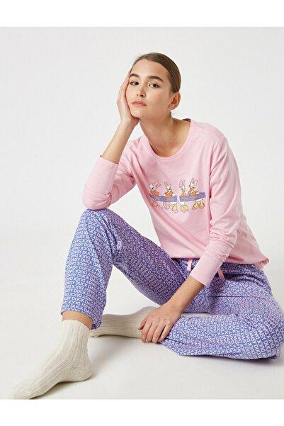 Koton Kadın Mor Pamuk Disney Lisanslı Pijama Takımı