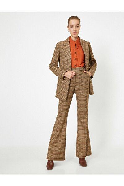Koton Kadın Kahverengi Pamuklu Ekose Geniş Paça Pantolon
