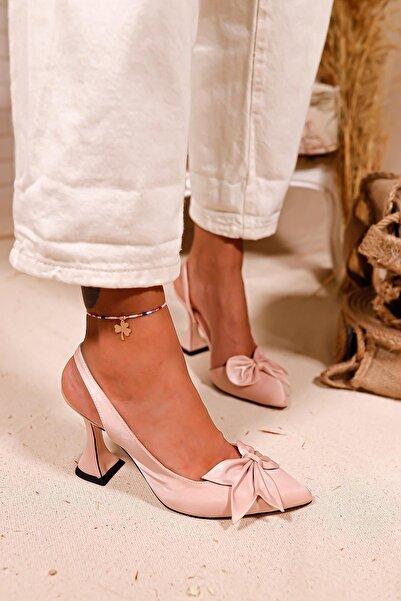 Limoya Kadın Pudra Holly Saten Fiyonk Detaylı Şampanya Topuklu Sandalet