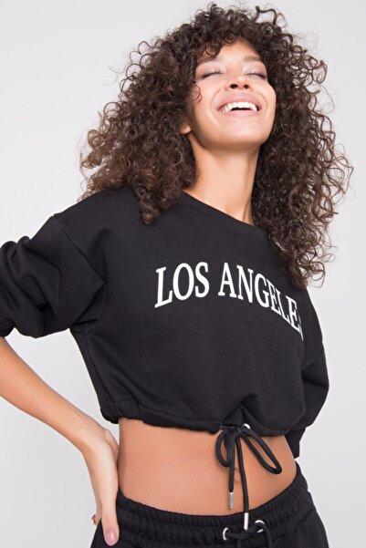 BSL Kadın Siyah Ön Baskı Detaylı Crop Sweatshirt